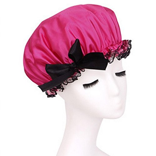 G2Plus® New Fashion Women's Waterproof Ribbon Lace Bow Style Double Layer Elastic Band Shower Cap Shower Hat Spa Bathing Caps Bouffant Cap-Rose