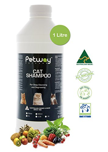 Petway Petcare Cat Shampoo - Natural Pet Dandruff Shampoo, pH Balanced Shampoo with Plant Derived Surfactant, Free of DEA, Phosphates, Parabens & Enzymes, Removes Excess Oil, Dirt and Dandruff - 1 L by Petway Petcare