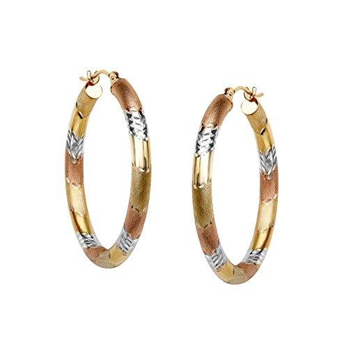 - Three Stripe Hoop Earrings in 10K Two Tone Gold-Bonded Sterling Silver