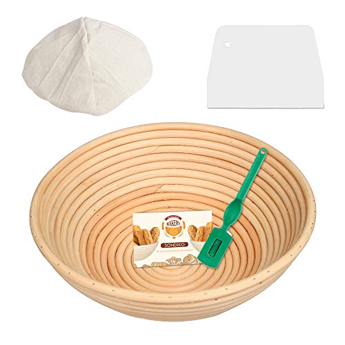 (10 x 6 x 4 inch) Round Banneton Proofing Basket Banneton Brotform with Cloth Liner, Dough Scraper for for Professional & Home Bakers