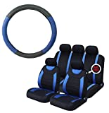 UKB4C Blue Steering Wheel Cover & 8 Piece Seat Cover Set Washable Airbag Safe Full Protection
