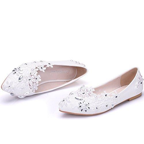 in scarpe fondo scarpe Qingchunhuangtang trapano Pearl matrimonio a white bianco Sposa pizzo damigella acqua piatto scarpa 5nwq4w6px