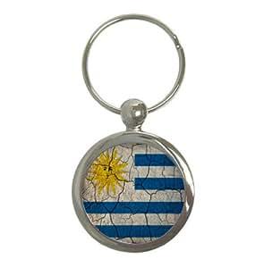 Uruguay bandera diseño Crackled redonda Llavero