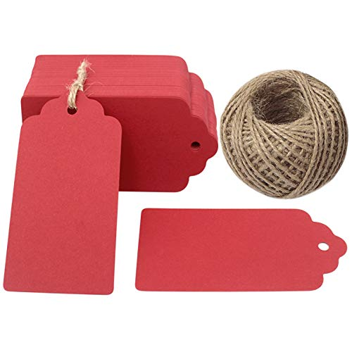 Valentine Tags Vintage - Red Gift Tags,Kraft Paper Valentine Tags with String,100 Pcs Blank Gift Tag Vintage Wedding Favor Hang Tags with 100 Feet Natural Jute Twine Retangle Tags