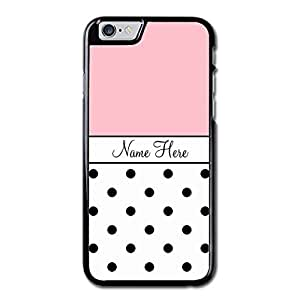 URDesigner Case for iPhone 6, 4.7 inch, Laser Technology,Pink Custom Name, Black Polka Dots Maple Iphone 6 Slim Case