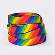 TXBH 1 Rainbow Colorful Flat Shoelaces Fashion for Casual Shoes Off Shoes