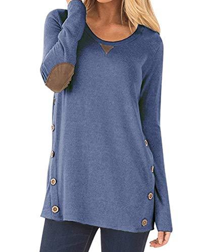 Aliex Women's Tunic Top Casual Long Sleeve Blouse T-Shirt Faux Suede Button Decor Blue S ()