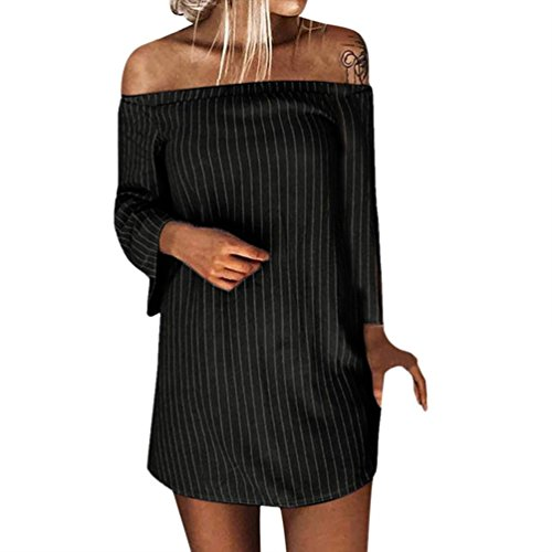 Spbamboo Women Autumn Winter Pullover Long Sleeve Striped Slash Neck Mini Dress by Spbamboo
