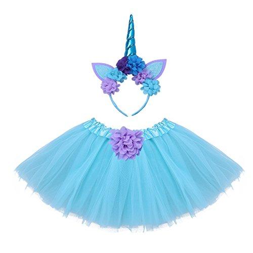 iiniim Baby Girls Unicorn Tutu Skirt Dress with Headband Barefoot Sandals Photography Props Outfit Set (12-24 Months, Sky Blue (2 pcs)) (Bare Heads Head)