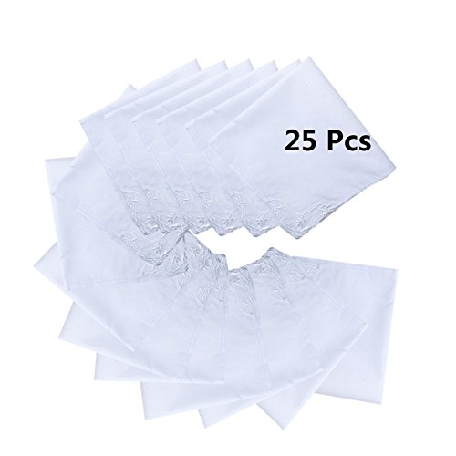 MileyMarla Ladies Embroidery Cotton White Handkerchiefs Lace Wedding HankiesE-25pcs by MileyMarla