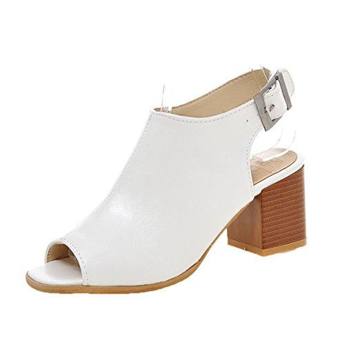 Fibbia Sbirciare Medio Bianco ccallp012311 Puro Sandali Tacco Voguezone009 Donna nAaxU