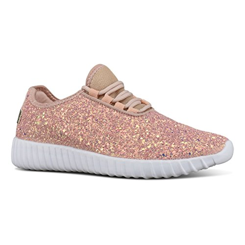 Premier Standard Women's Lace Up Glitter Shiny Sneaker - Fashion Walking Shoe - Easy Everyday Fashion Slip On, TPS Sneaker-Imer Pink Size (Comfortable Womans Sneaker)