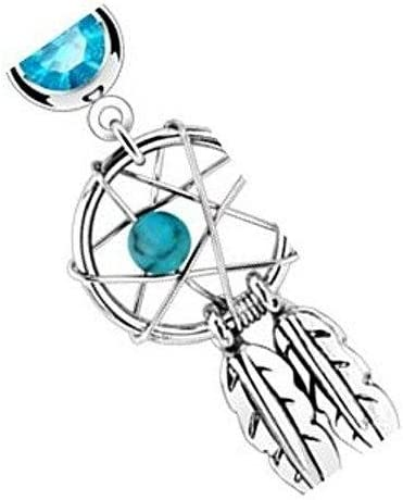 Lot of 10 316L Steel Dream Catcher Navel Belly Ring w//dangle feathers CLEAR