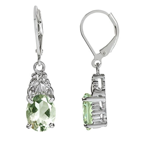 4.56ct. Natural Green Amethyst White Gold Plated 925 Sterling Silver Leverback Dangle Earrings (Green Amethyst Earrings Silver)