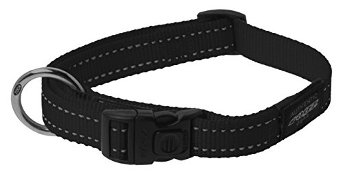 ROGZ Reflective Dog Collar for Extra Large Dogs, Adjustable from 17-27 inches, Black