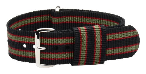 20mm Nato Ss Nylon Loop Striped Black / Green / Red Interchangeable Replacement Watch Strap Band
