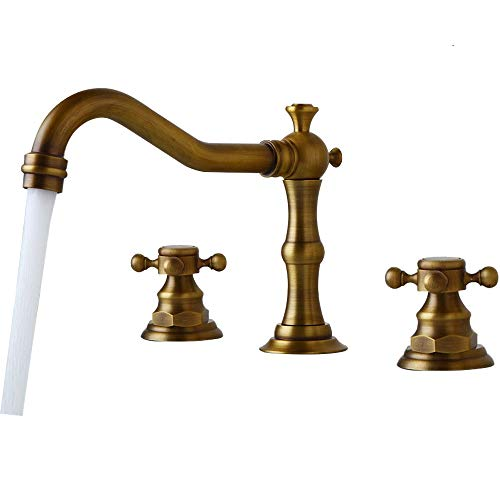 8 Widespread Bathroom Faucet Bathtub Deck Mounted 3 Pieces Dual Knobs Sink Mixer Tap, Antique Brass OUBONI