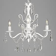"""Wrought Iron and Crystal 4 Light White Chandelier H 14"""" X W 15"""" Pendant Fixture Lighting Ceiling Lamp Hardwire and Plug In"""