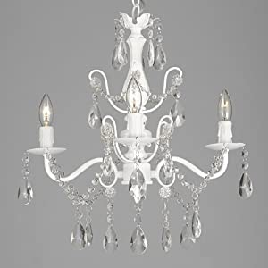 "Wrought Iron and Crystal 4 Light White Chandelier H 14"" X W 15"" Pendant Fixture Lighting Ceiling Lamp Hardwire and Plug In"