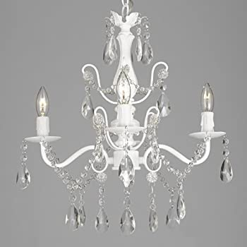White wrought iron crystal chandelier chandeliers lighting h27 x w21 wrought iron and crystal 4 light white chandelier h 14 x w 15 pendant fixture lighting ceiling lamp hardwire and plug in aloadofball Image collections