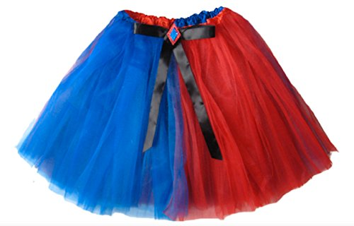 [Southern Wrag Company Girls to Plus Size Adult RED BLUE Harlequin Tutu LONG 16in (XS: TUTU WAIST] (Rave Monster Costume)