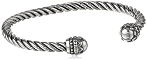 "Sterling Silver Roped Twist Cuff Bracelet, 7"" from Sunstone"