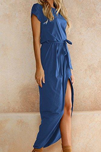 Long De XL Manga Una Corta De Blue Linea Mujeres Verano Cóctel Vestido Las Beach qvwBR14