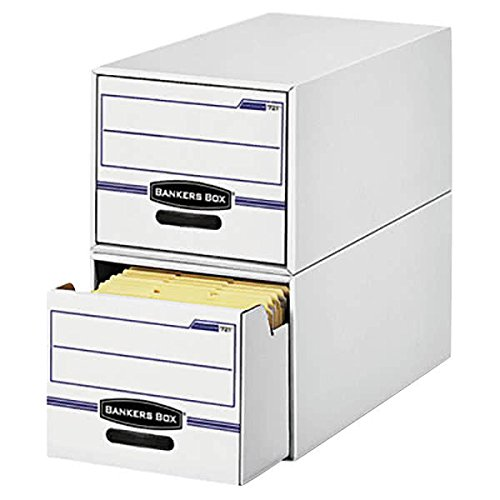 TableTop King 00722 STOR/DRAWER 16 3/4'' x 19 1/2'' x 11 1/2'' White/Blue File Drawer Storage Box with Plastic Handle - Legal - 6/Case