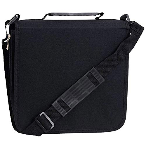 288 Capacity CD/DVD Carrying Case - Black - with New and Improved Inserts, Double The Thickness and All tabs Pulled (Cd Carrying Cases)