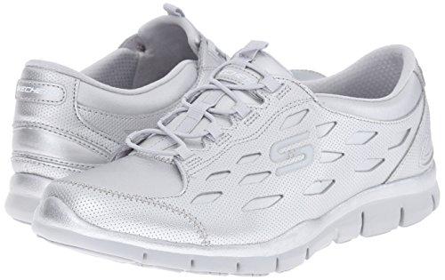 Skechers Deportivo Mujer Gratis Zapatillas de deporte elegante y elegante, punto negro plata