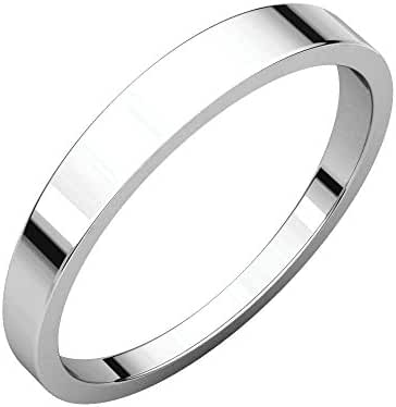 Platinum 3mm Flat Tapered Band, Ring Size 7.5