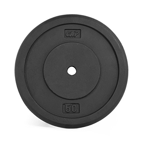 CAP Barbell Standard Free Weight Plate, 1-Inch, 50-Pound, Black