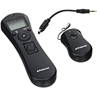Polaroid Wireless Camera Shutter Remote w/Interval Timer - Includes Receiver, Handheld Transmitter w/Backlit Display & Connector Cable - Transmitter Enables Shooting Mode Switching w/o Need of Adjusting Camera Settings - Battery Operated For Nikon D90, D3100, D3200, D5000, D5100, D5200, D5300, D7000, D7100, D600, D610, P7700, P7800 SLR Cameras