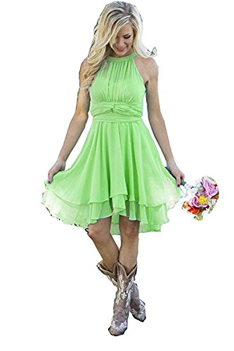 0d9ebbece46 YinWen Women s Halter Chiffon Country Bridesmaid Dresses Western Wedding  Guest Wears Size 12 US Lime Green