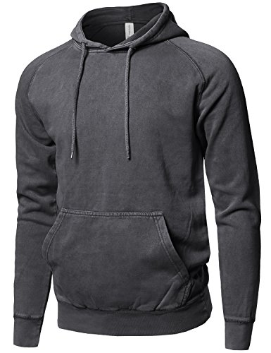Style by William Mineral Washed Raglan Long Sleeve French Terry Pullover Hoodie Black L