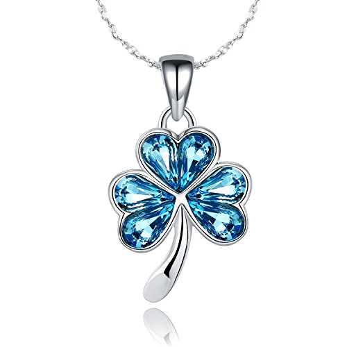 JCHORNOR Shamrock Four Leaf Clover Heart Shaped Swarovski Elements Crystal Pendant Necklace, St. Patrick's Day Party Gifts for Teen Girls,Women,Mother,March Birthday