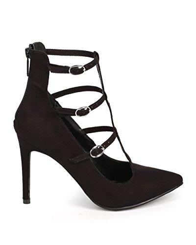 Suede Zip Breckelles Black Toe Stiletto Pump T Strap DG16 Women Cage Pointy HcwqWE4gq