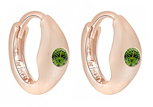 Round Cut Simulated Peridot Huggie Hoop Earrings in 14K Rose Gold Over Sterling Silver