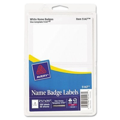 Avery Print or Write Name Badge Labels, 2.34 x 3.37 Inches, White, Pack of 100 (05147)