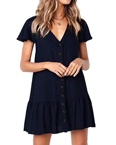 Bbalizko Womens Cute V Neck Short Sleeve Buttion Down Loose Fit Ruffle Mini Dresses ()
