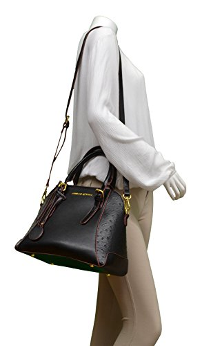 Adrienne Vittadini Ostrich Collection Medium Dome Satchel Cross Body 11 X 9 1/2 X 6 1/2 Black Avh2417-001