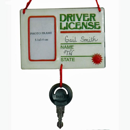 """""""Driver License"""" Picture Frame With Key Ornament"""