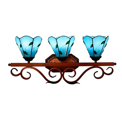 Bathroom Vanity Light, Tiffany Style Leaf Stained Glass Shade Over Mirror Make - Glass Bathroom Mirrors Stained