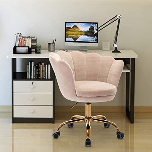SSLine Modern Cute Desk Chair Home Office Mid-Back Computer Chair on Wheels Elegant Living Room Upholstery Leisure Chairs Fabric Swivel Shell Chairs Vanity Chair