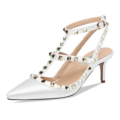 CAITLIN-PAN Women's Stud Kitten Heels Pointed Toe Studded Strappy Slingback Buckle Heels Leather Pumps Stilettos Heeled Sandals White Pattern/White Strap Size 11US