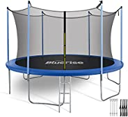 Bluerise Easy to Assemble 55'' 6FT 8FT 10FT 12FT 14FT Kids Trampoline with Enclosure Basketball Hoop N