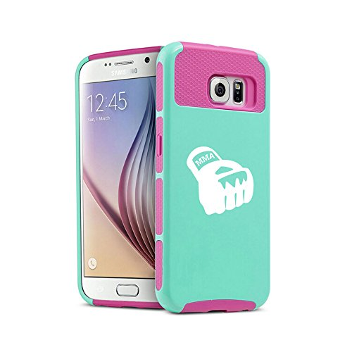 For Samsung Galaxy S7 Shockproof Impact Hard Soft Case Cover MMA Boxing Glove (Teal-Hot Pink)