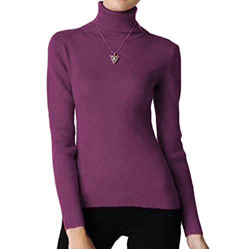 (Easier Women's Cashmere/Lyocell Stretchy Turtleneck Long Sleeve Knit Pullover Sweater,Purple)