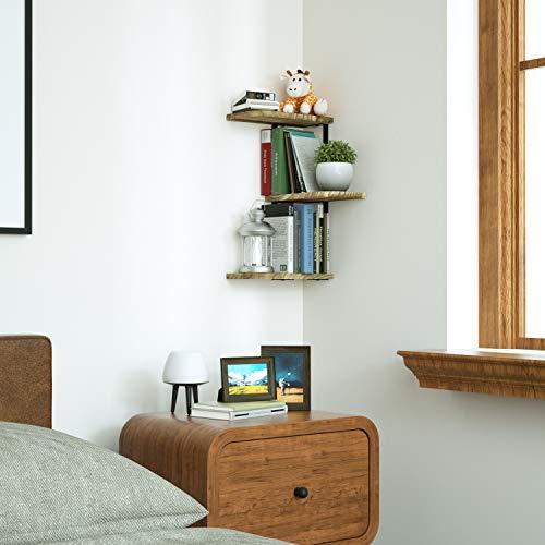 Corner Wall Shelves Rustic Wood Floating For Bedroom Living Room Bathroom Black