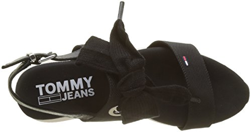 Tommy Jeans Modern Hybrid Sandal Bow, Sandalias de Talón Abierto Para Mujer Negro (Black 990)